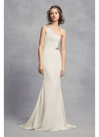 One Shoulder Sheath Wedding Dress With Crystals Davids