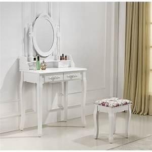 Coiffeuse Avec Tiroir : coiffeuse 2 tiroirs avec table de maquillage ~ Teatrodelosmanantiales.com Idées de Décoration