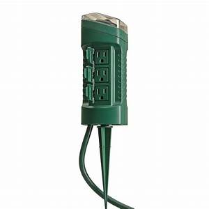 woods outdoor 6 outlet yard stake with photocell light With outdoor christmas light plug covers