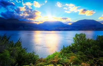 Mountain Clouds Nature Sunset Sky Sun Water