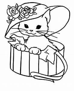 Cute Kitty Cat With A Fancy Hat Coloring Page Jpg Kitten