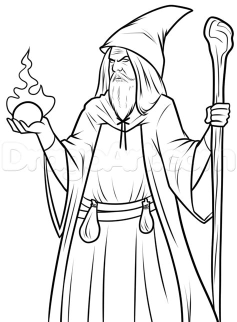 easy wizard drawing lesson step  step wizards fantasy