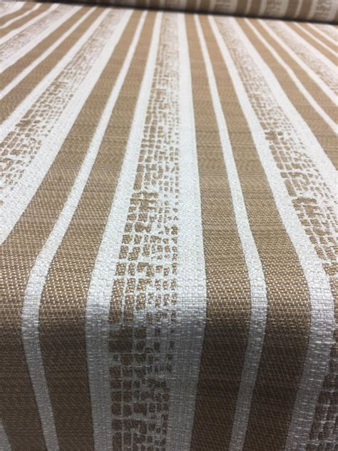 Striped Drapery Fabric by P Kaufman Byways Toffee Gold Beige Striped Upholstery
