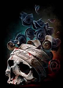 Skull Banner and Roses by hardnox757 on DeviantArt