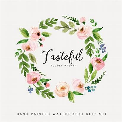 Wreath Watercolor Floral Flower Clipart Tasteful Hand