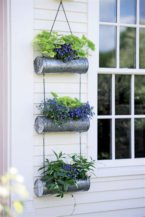 galvanized metal hanging triple planter gardeners supply