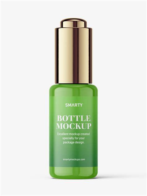 30ml dropper bottles mockup (clear glass, amber glass, plastic). Button dropper bottle / glossy - Smarty Mockups