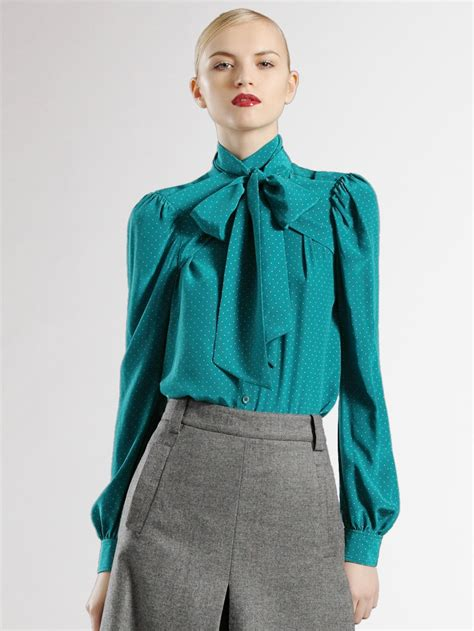 gucci blouse gucci cross scarf silk blouse in blue grey lyst