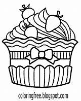 Cupcake Drawing Simple Cake Coloring Cup Pages Printable Almond Getdrawings Clipartmag sketch template
