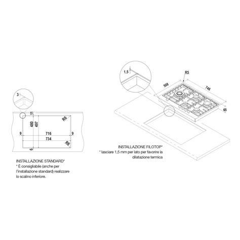 piano cottura filo top piano cottura schock filo pc75avg acciaio inox montaggio a
