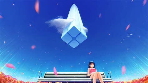 wallpaper anime girl bench  blue sky  anime
