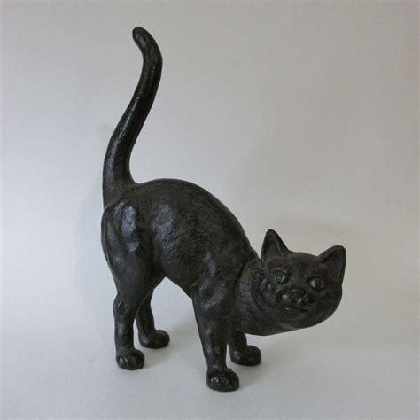 cat door stop vintage cast iron arched back black cat door stop hubley
