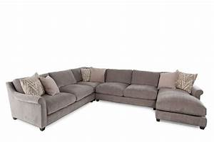 Four piece microfiber sectional in milk chocolate mathis for 4 piece sectional sofa microfiber