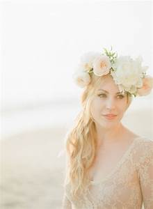 Wedding Hairstyles long hair flower crown with peach