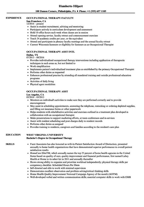 Occupational Therapy Resume by Occupational Therapy Resume Sles Velvet