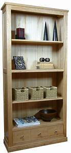 Mobel Oak Large 3 Drawer Bookcase Living Room Furniture