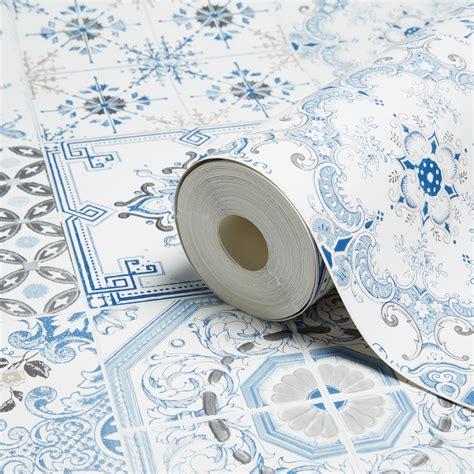 muriva tiles blue wallpaper departments diy  bq