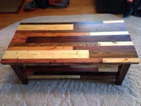 coffee table   pallet wood top view showing