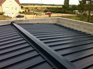 Photo charpente et couverture en bac acier sur la partie for Maison avec jardin interieur 5 extension de maison toiture double pente verandaline