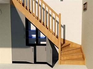 Placard Escalier : placard sous escalier portes ouvertes id e construction pinterest am nagement sous ~ Carolinahurricanesstore.com Idées de Décoration