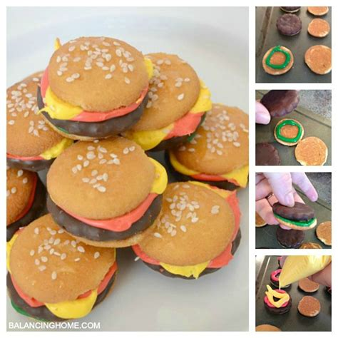 how to make hamburgers how to make mini hamburger cookies balancing home with megan bray