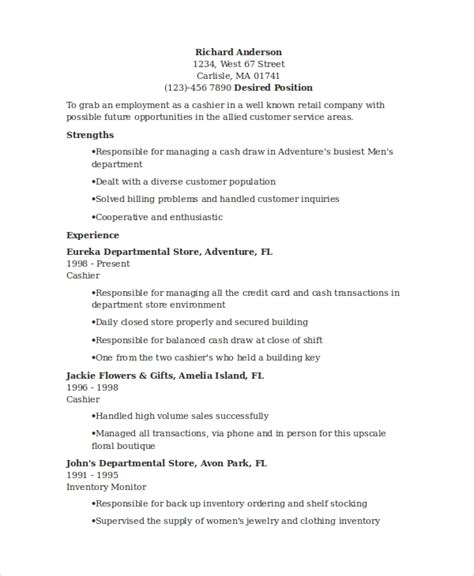 Resume Words For Cashier by Sle Cashier Resume 7 Exles In Word Pdf