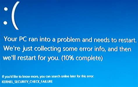 kernel security check failure مشکل دارم کمک کنید پرسش و