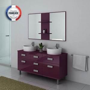 Meuble Vasque Sur Pied : meuble double vasque sur pied dis911 aubergine ~ Teatrodelosmanantiales.com Idées de Décoration