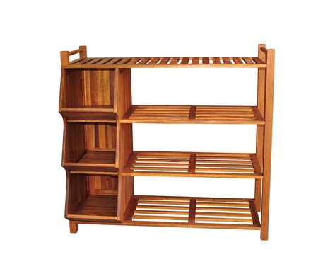 two layer clear coating wooden rack for shoe organizer