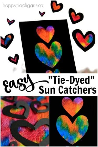 easy tie dyed heart sun catchers  kids   happy