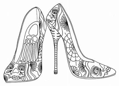 Coloring Pages Heels Shoes Heel Shoe Printable