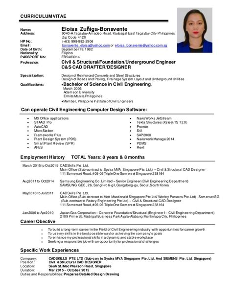Resume Civil Engineer Philippines by Ezbonavente Cv Civil Structural Engineer