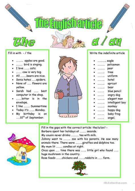Articles Worksheet  Free Esl Printable Worksheets Made By Teachers
