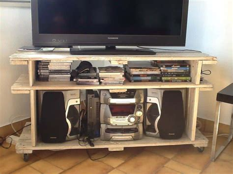 meuble tv en palettes pallet tv stand  pallets