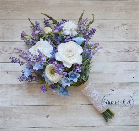 Rustic Wedding Bouquet Blue And Lavender Wildflower