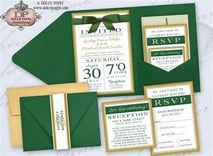 emerald green ivory and gold metallic elegant pocket With black white and emerald green wedding invitations