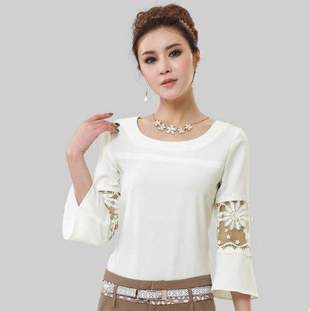 korea  size vintage hollow sleeve women tops white