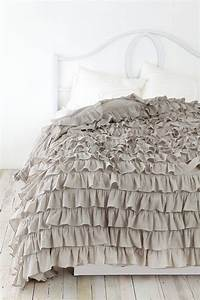Waterfall Ruffle Duvet Cover | Urban outfitters Grey and Ruffles