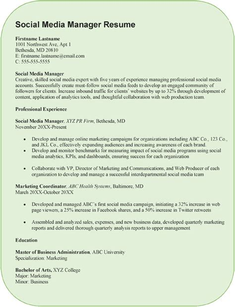 creative social media manager resume sample word