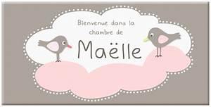 Déco Prénom Bébé : plaque pr nom pour b b fille avec oiseaux sur nuage rose ~ Teatrodelosmanantiales.com Idées de Décoration