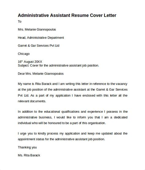 Cover Letter For Assistant Resume by Administrative Assistant Cover Letter 9 Free Sles
