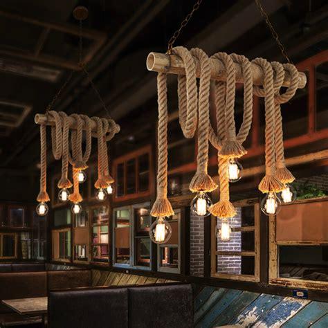 Vintage Bamboo Rope Pendant Lights E27 Led 46 Bulbs Loft