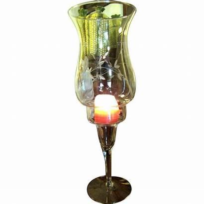Candle Glass Holder Elegant Etched Shade