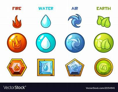 Elements Earth Natural Four Cartoon Water Icons