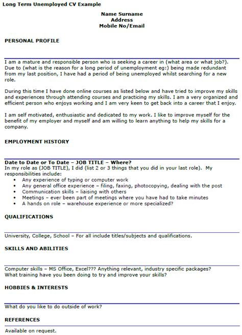 fre resume help for unemployed term unemployed cv exle icover org uk