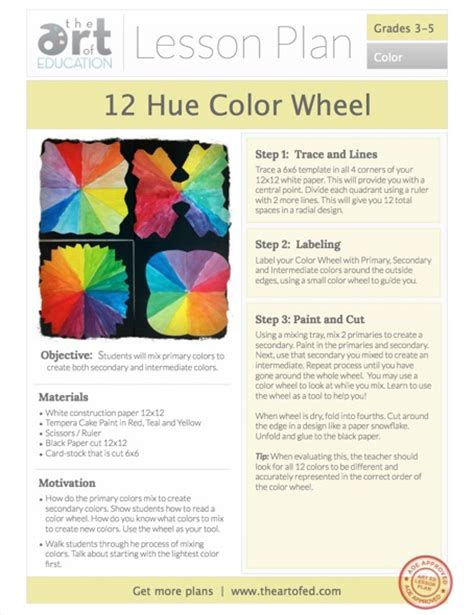 12 Hue Color Wheel Free Lesson Plan Download  The Art Of Ed