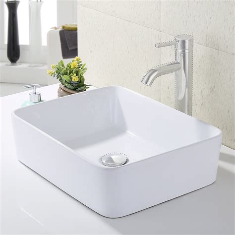 Modern Above Counter Bathroom Sinks by Kes Bathroom Rectangular Porcelain Vessel Sink Above