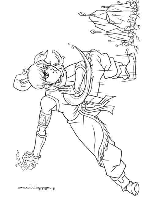 legend  korra korra bending earth coloring page