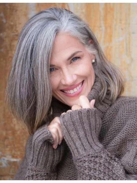 Fashion Older Ladies Medium Grey Hair Wig Uk