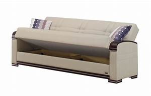fulton cream leather sofa bed by empire furniture usa With cream leather sofa bed